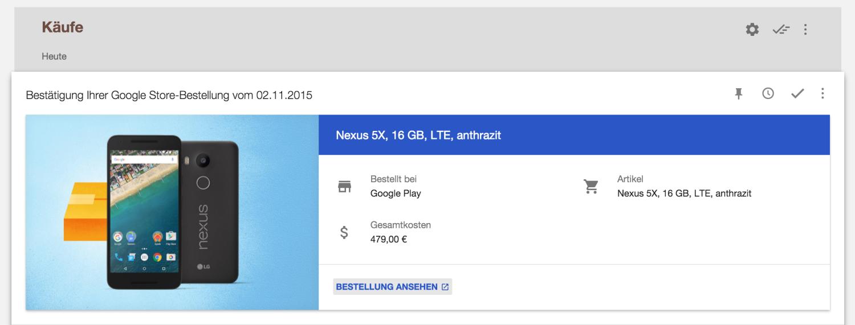 Bestellung Nexus 5X